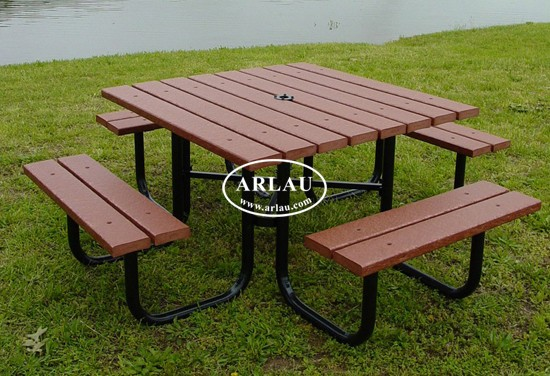Arlau Recycled Plastic Picnic Tables With Umbrella Hole Synthetics Composite