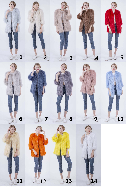 Factory supply super warm fur overcoat raccoon long fur coat jacket