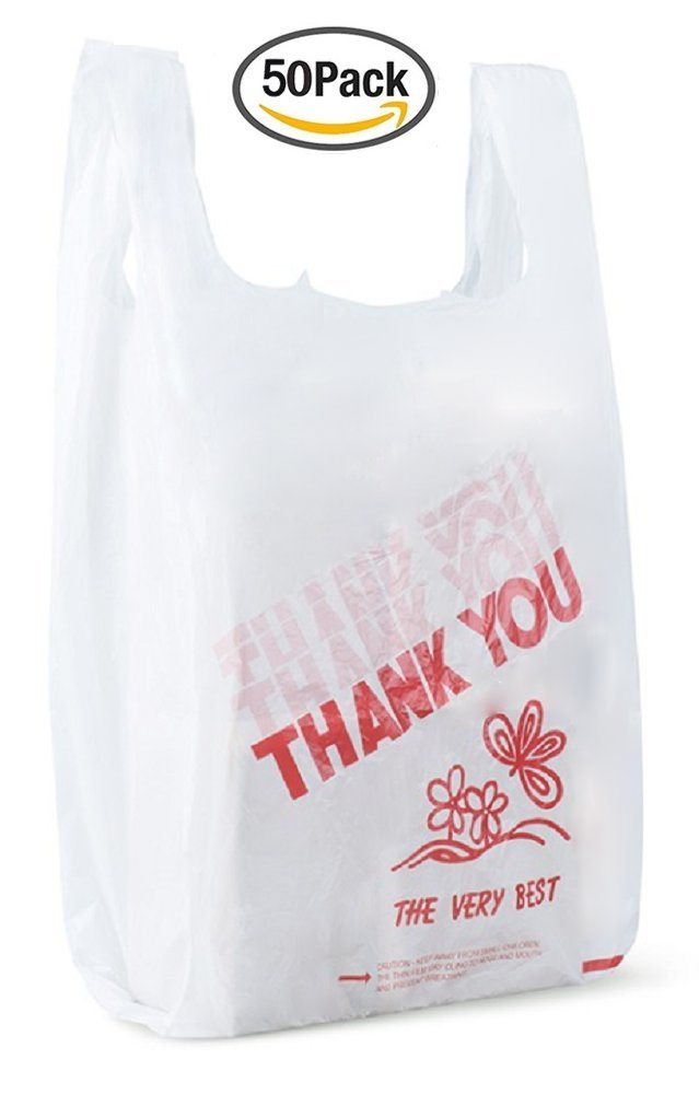 Amiff T-shirt bags 18x8x27 Plastic bags 18 x 8 x 27. 20 mic thick Thank you bags. Poly merchandise bags. Wholesale, retail shopping bags. Pack of 50 white grocery bags with handles.