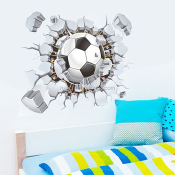 Football Soccer Ball Through The Wall Decals Room Decor Stickers Kids Boys