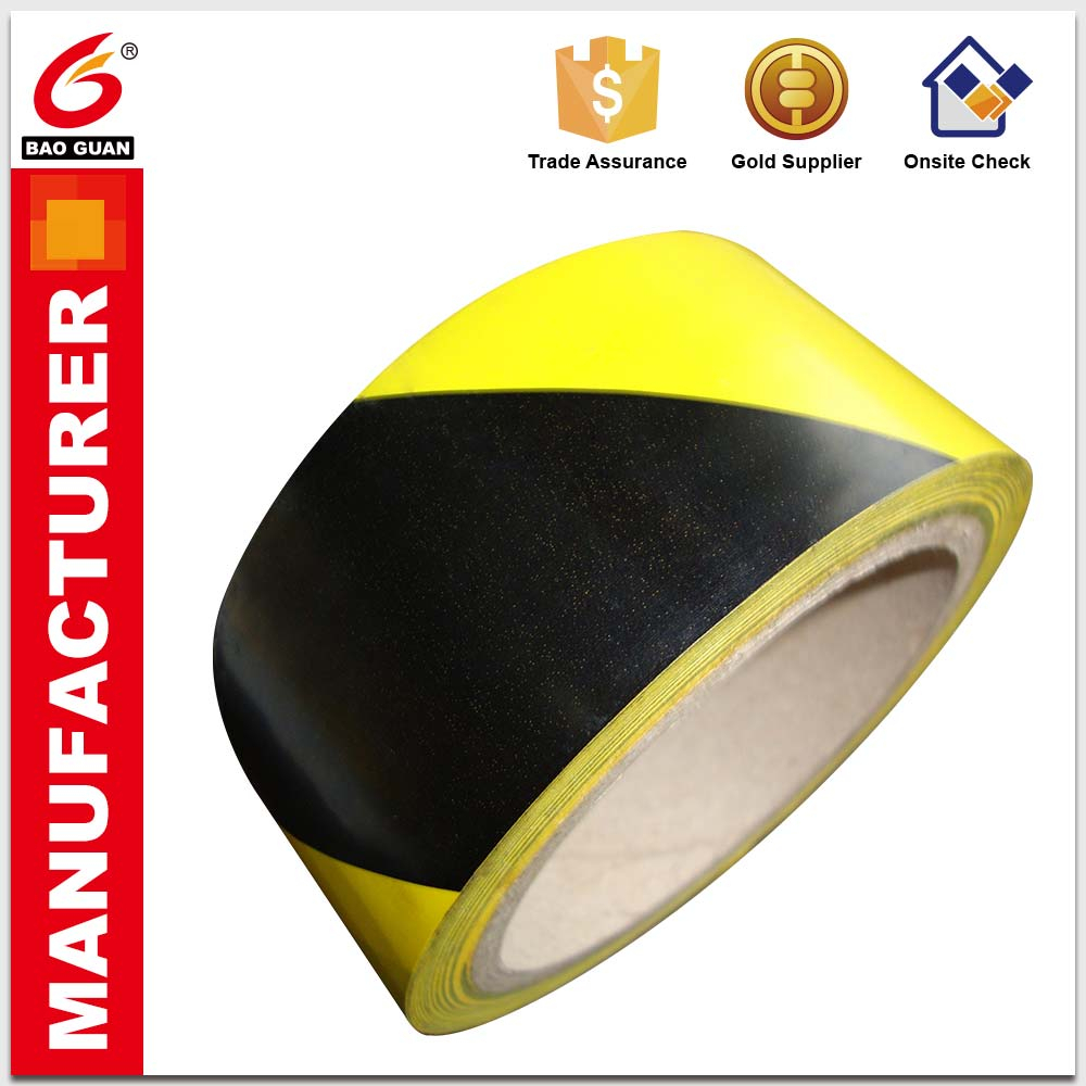 Easily torn apart PVC Hazard Warning Floor Line Marking Tape jumbo rolls