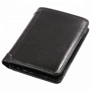 Classic Oil Wax Genuine Leather Slim Bifold Wallet With Card Holder,Black Tri Fold Men's Leather Wallet Money Changes Wallets