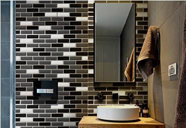 Adesivi per piastrelle bagno mosaico parede grigio argento carta