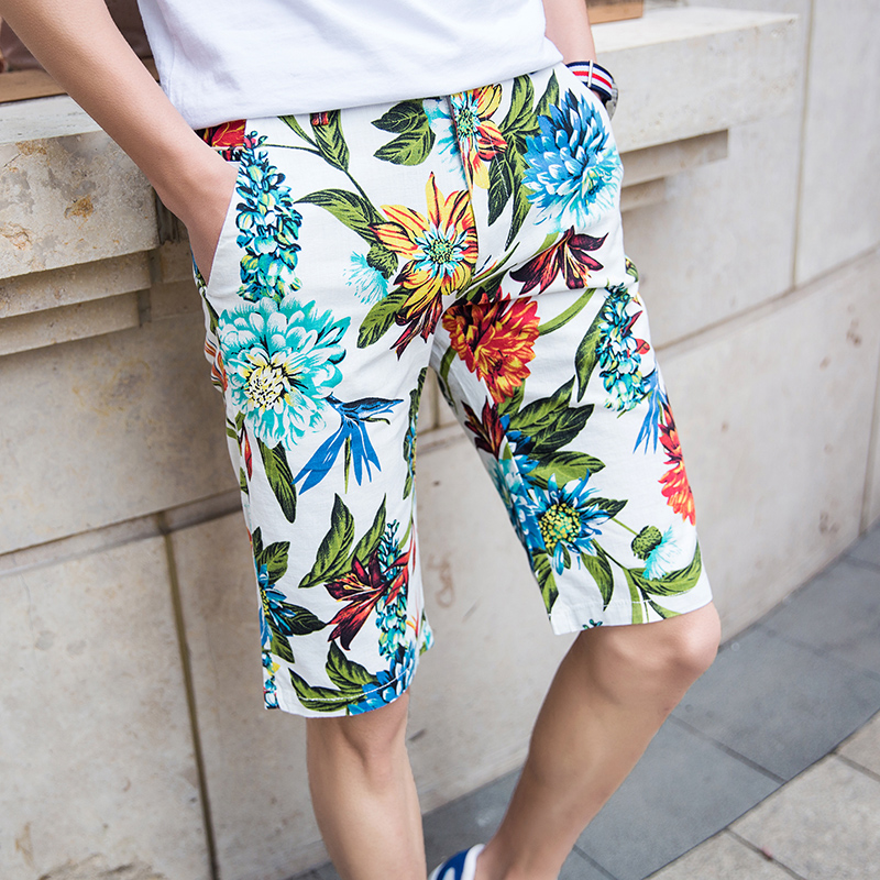 d7f0381578 ᗚ2017 Summer New Style Style Mens Casual Shorts Floral Knee ...