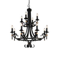 Antique castle European classical style pure black creative iron 12 lamp holder chandelier