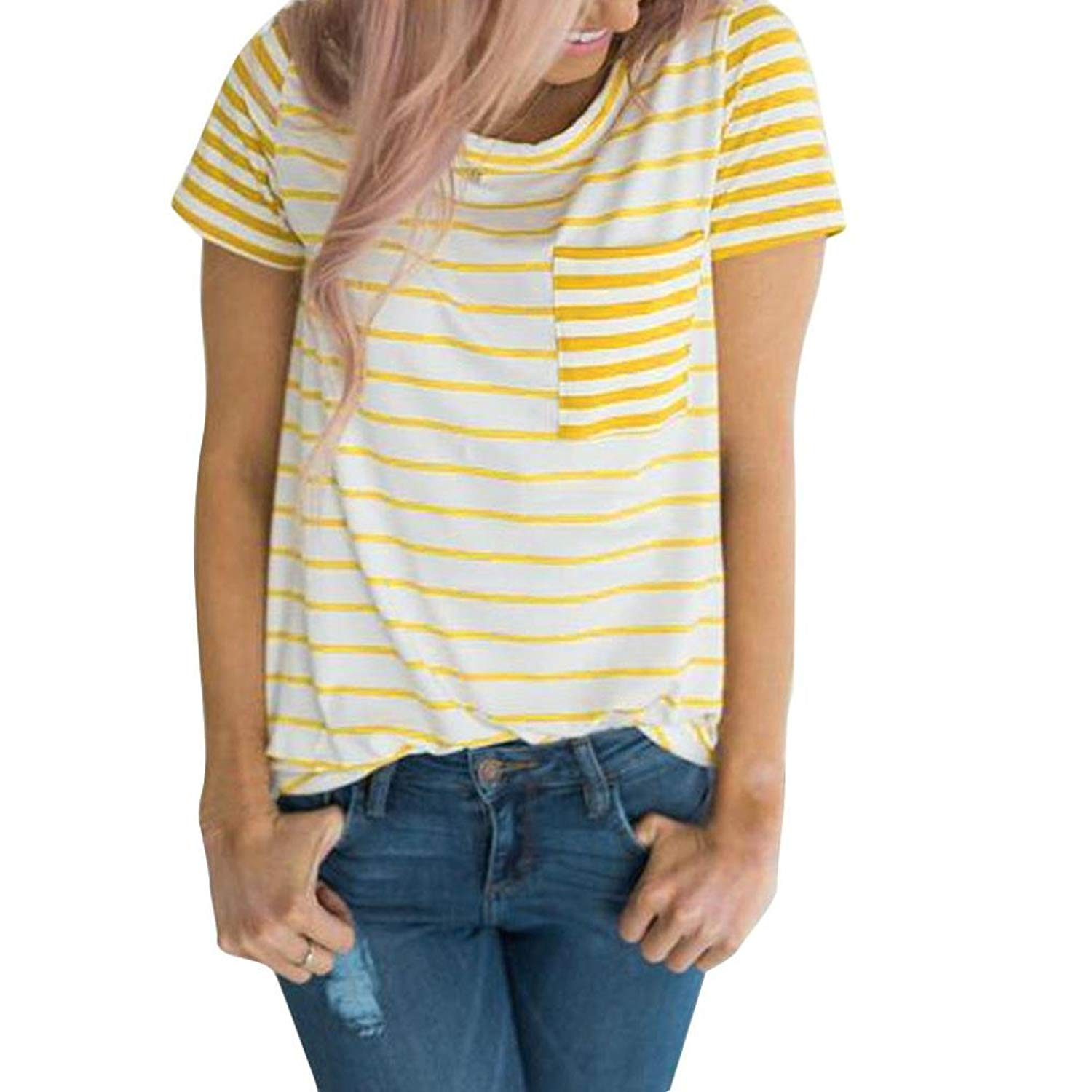Zainafacai Womens Short Sleeve Round Neck T Shirts Color Block Striped Casual Blouses Tops