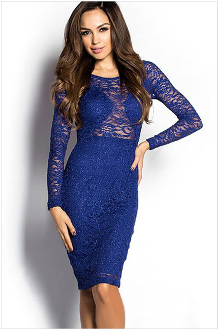 31162014 Get Quotations · FREE SHIPPING 2015 New Women Elegant Sexy Sparkly Long  Sleeve Lace Cut out Midi Dress NA6914