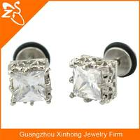 Earring Stud Ear Plug Stainless Steel Square Crystal Fake Earring