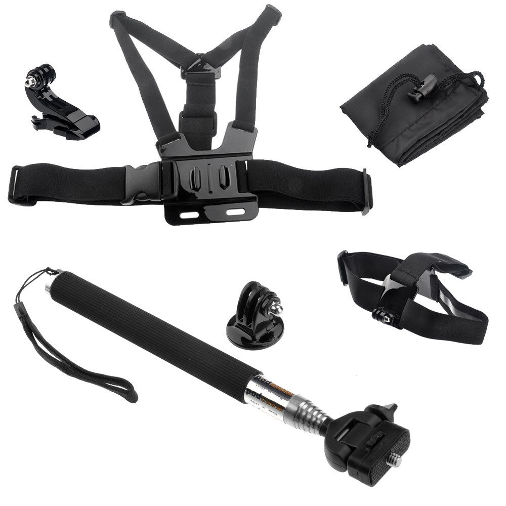 Free Shipping Gopro Chest Harness & Head Strap Mount & Monopod Tripod