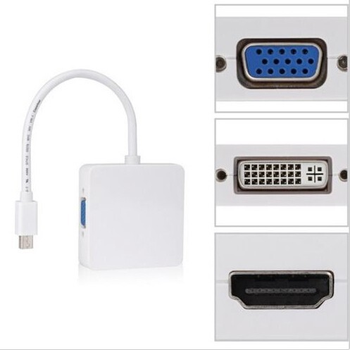 3 in1 Thunderbolt Mini DP displayport DVI VGA adapter für MacBook