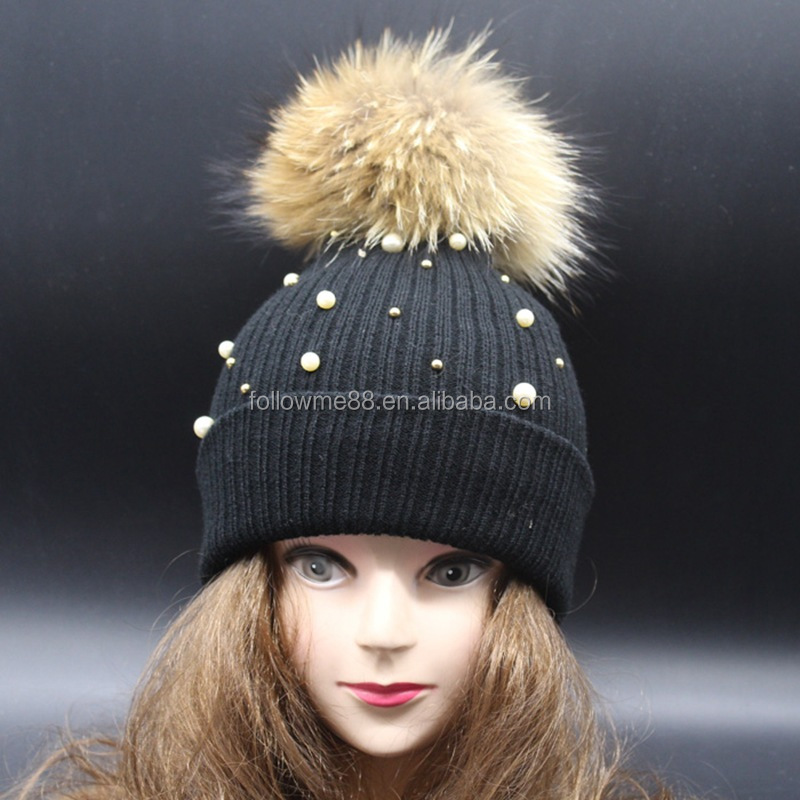 Beanie Hat Wholesale China Winter Women Knitting Hat Blue Rhinestone Pearl Beanie  Hats with faux fur 0b3138964d07