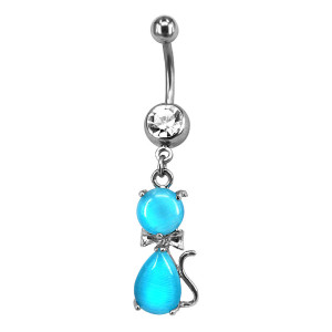 Unique cat dangle belly button ring 316L stainless steel non piercing navel ring