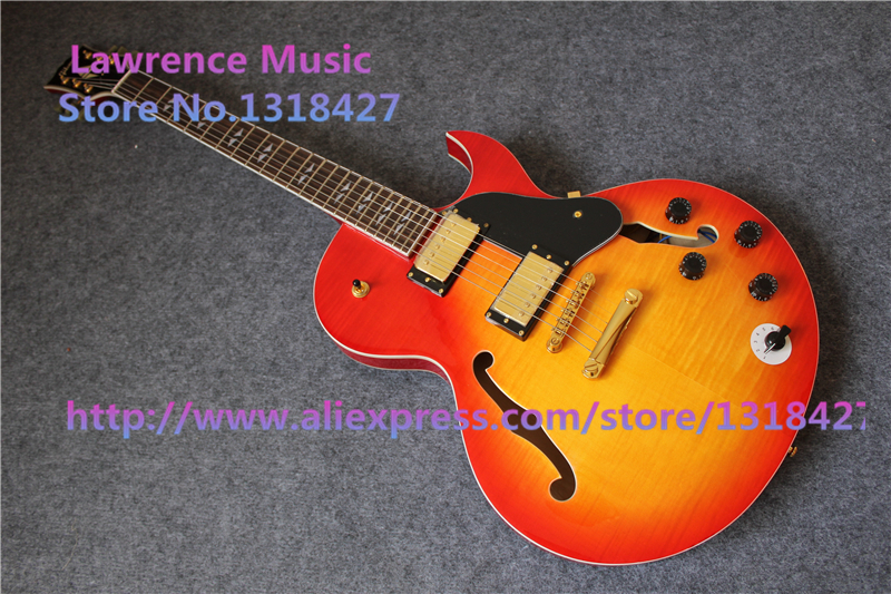 china cheap es electric guitars single cutaway f holes guitar in stock for sale in guitar from. Black Bedroom Furniture Sets. Home Design Ideas
