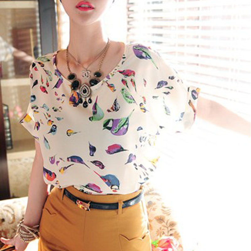 e3e8623327783 Get Quotations · Stylish Tops Women Girl Chiffon Loose Blouse Summer Tee  Multicolor T-shirt S M L