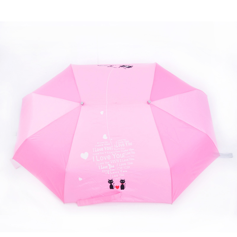 CU-02 New design valentines gifts 3 folding couple umbrella