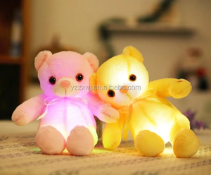 Free Sample Wholesale Factory Plush Electric Santa teddy bear toy soft stuffed LED Glow in dark recorable talking custom toy