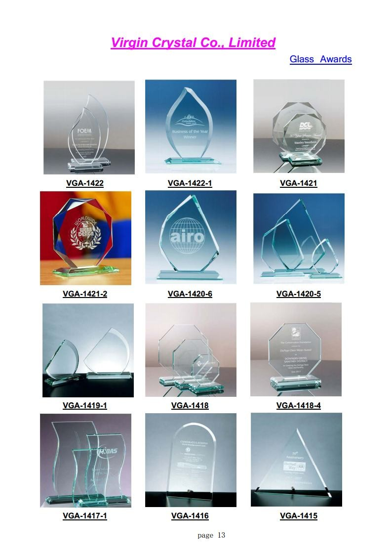 Custom Diamond cutting edge crystal Glass Awards trophy plaque For Souvenir Gift/business gift