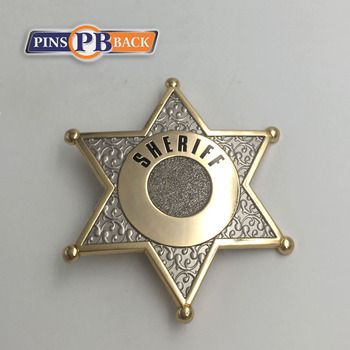 High quality zinc alloy double plated metal badge star lapel pin