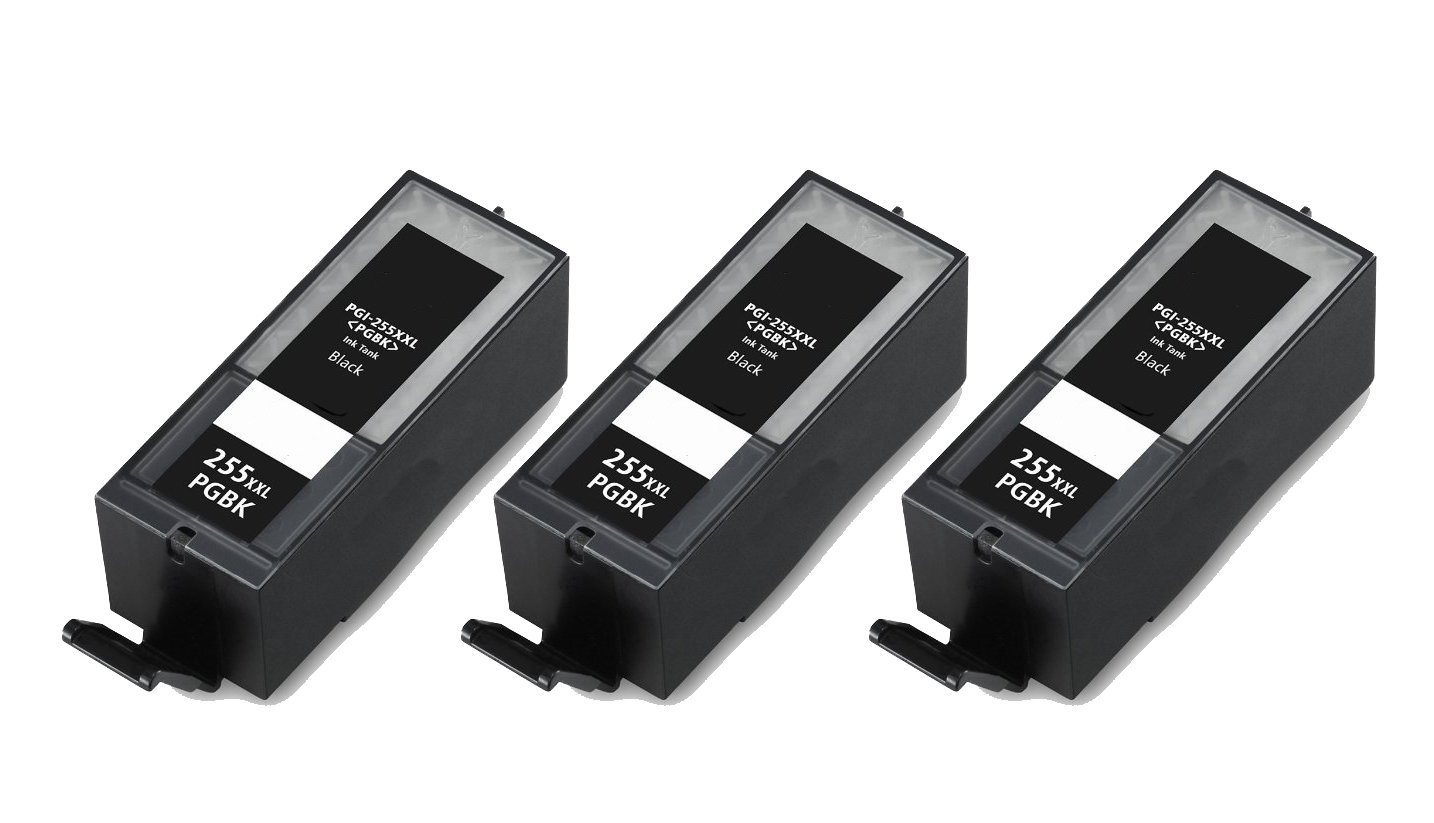 HI-VISION® 3 PK Compatible Canon PGI-255XXL 8050B001 Extra High Yield Black Ink Cartridges Replacement for PIXMA iX6820, MX722, MX922 Inkjet Office All-In-One printers