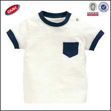 wholesales high quality tagless blank t shirts baby white t shirt with pocket on the chest