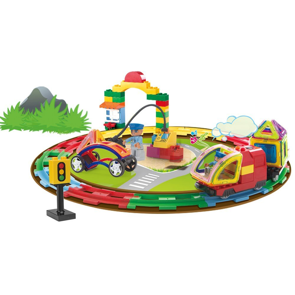 c498f5aea8e2 Get Quotations · Pigflytech Magnetic Building Blocks with Battery Operated  Train Set 126 pcs 3D Building tiles Construction Playboards