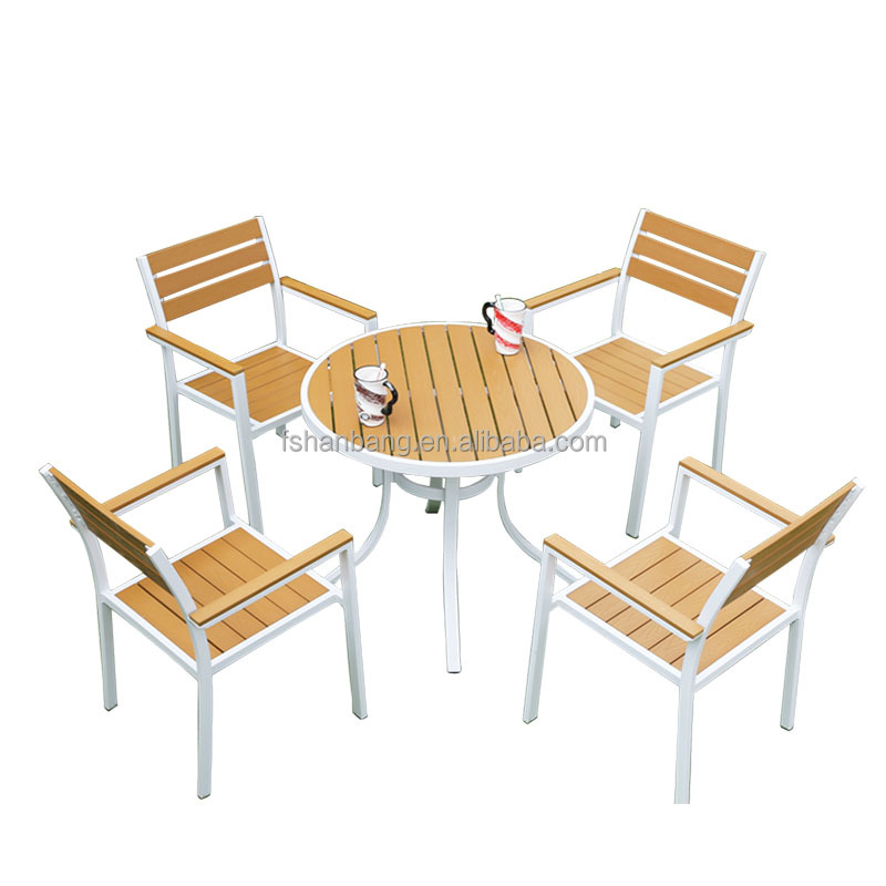 Garden plastic wood set resin wood chair and table dining room set