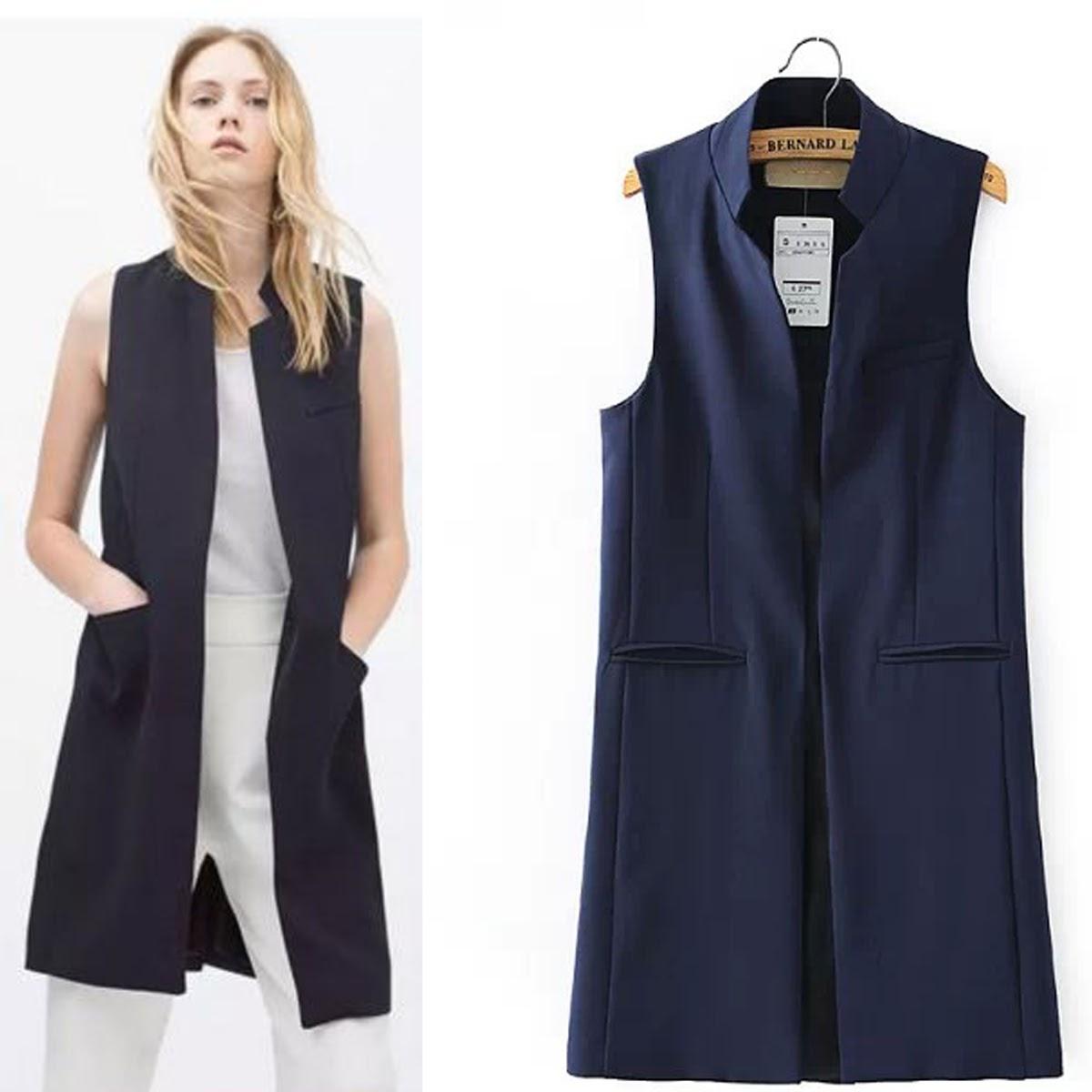 d064284175d Women s Mandarin Collar Open Front Long Vest Waistcoat Cardigan Blazer Sleeveless  Jacket Outfit Women Long Business Suit Vest Long Vest Business Vest Blazer  ...