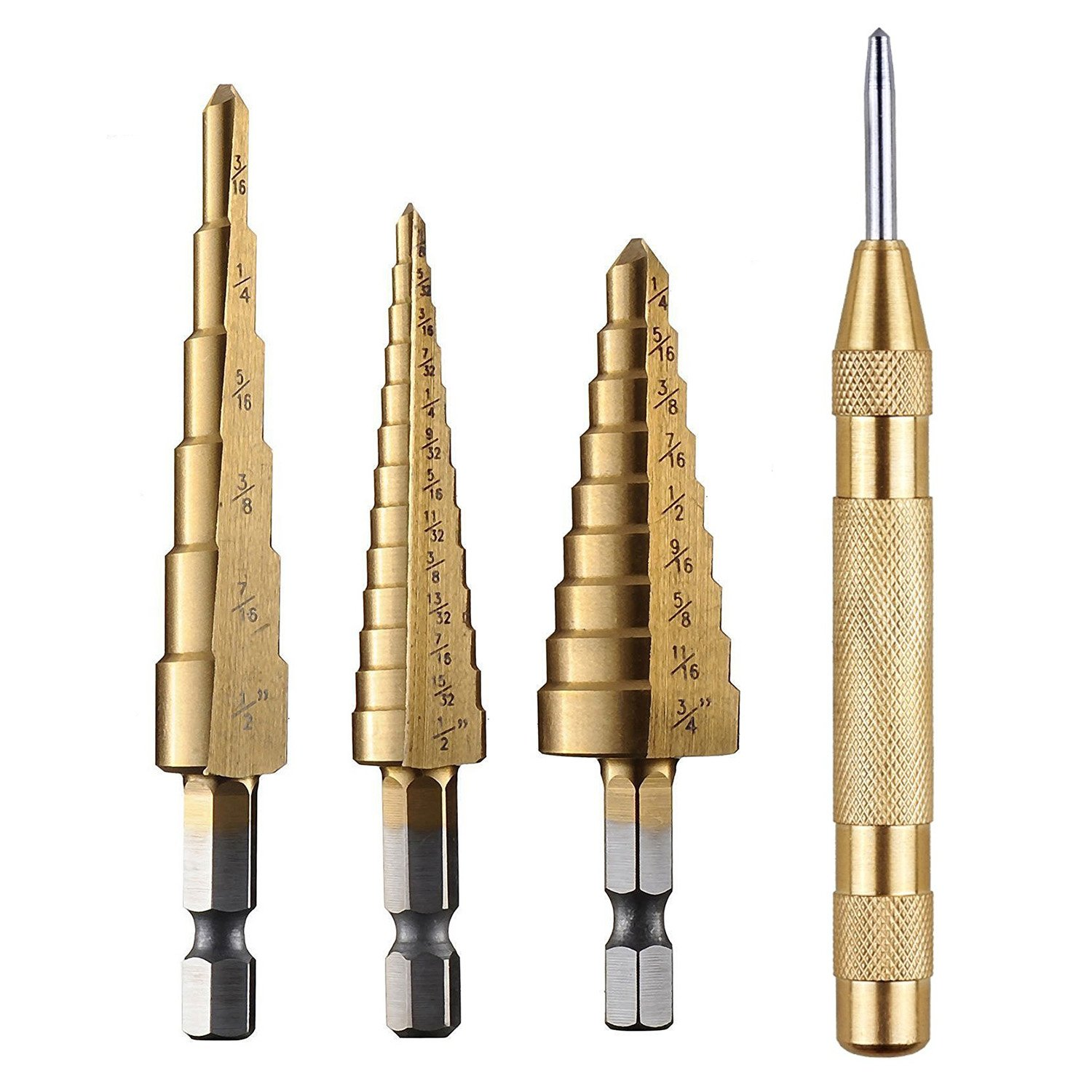 "WElinks 3Pcs Titanium Step Drill Bit Set, HSS Steel Step Cone Drill Bits Set Hole Cutter with Automatic Center Punch, 1/4"" Hex Shank Quick Change Woodworking Tools(3/16""-1/2"", 1/4""-3/4"", 1/8""-1/2"")"