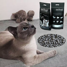 Ball shaped Professional Innovative Black Color Clumping Bentonite Activated Carbon Cat Litter Producer