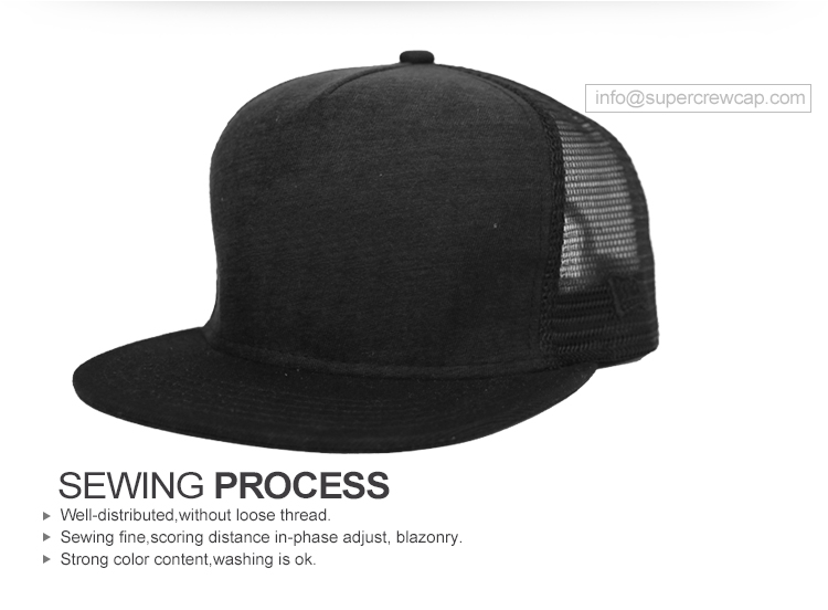 China Factory Supplier Custom High Quality 5 Panel Blank Flat Adjustable  Black Yupoong Mesh Snapback ececba8019ca