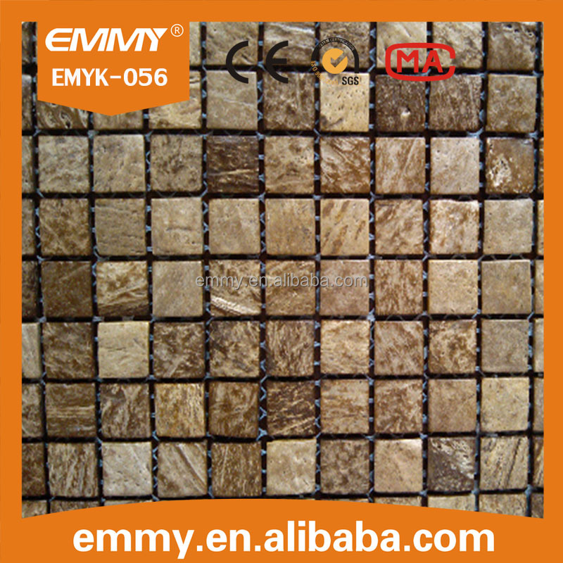 most popular coconut shell mosaic tiles light wooden mosaic manufacture