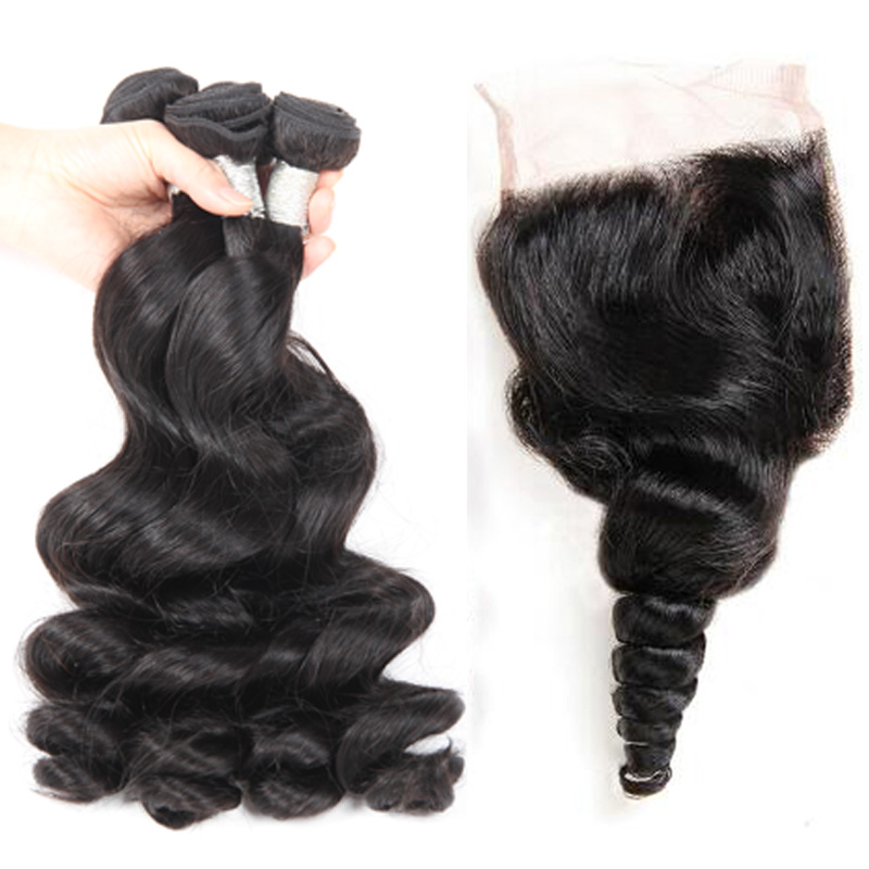 8A Grade Virgin Hair With Closure Loose Wave Human Hair Weave 3 Bundles Mink Brazilian Hair Loose Free Shipping, Natural color #1b
