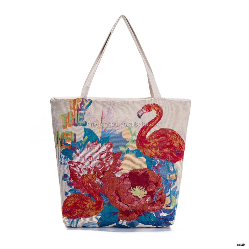 Floral And Flamingo <strong>Eco</strong> Printed 10oz Cotton Cloth Bag Shopper Bag Canvas Shopping Bag