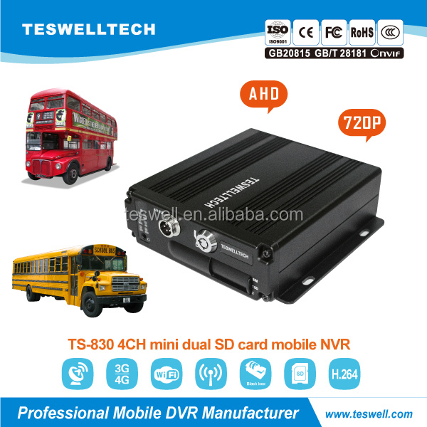 Teswell Manufacturer of Mobile DVR with G-Sensor 128GB/256GB GPS WIFI 4CH 4G 3G HD Vehicle MDVR 720Pp Vehicle Blackbox DVR