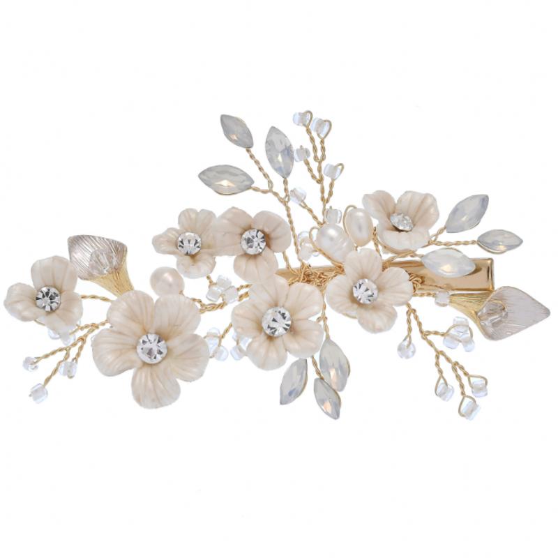 दुल्हन शादी के फूल बाल पिन सोने दुल्हन बाल सामान मीठा शादी बाल टुकड़ा महिलाओं के लिए