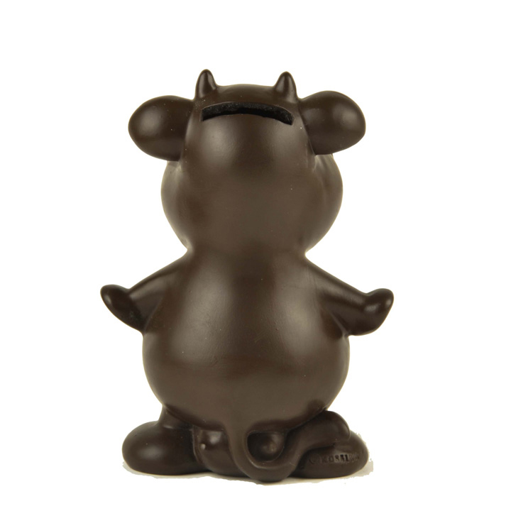 Customized size polyresin money box brown cattle piggy piggy bank