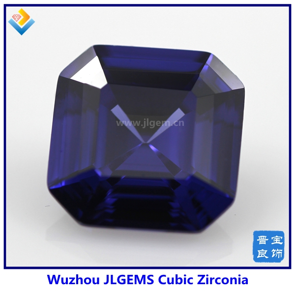 Square Shaped Dark Blue Cubic Zircona Gemstones with AAAGrade
