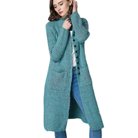 Women's Casual Button Front Long Sleeved Chunky Knit Plus Size Sweater Cardigan Outwear abrigos de invierno mujer with Pocket