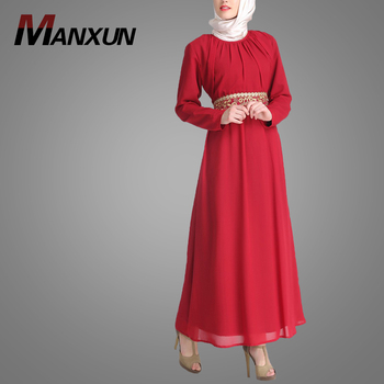 0c819d42ed0f Modest Newest Fashion Abaya Maxi dress Beautiful Color With Neck Muslim  Women Dresses Golden Thread Embroidered