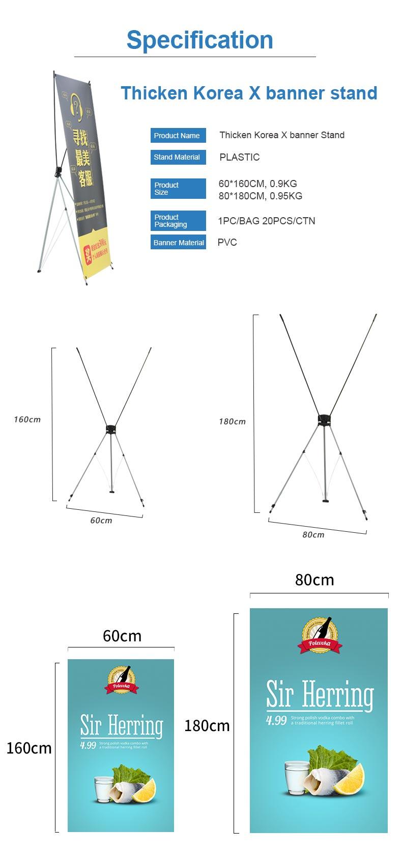 Hot Koop Licht Gewicht Korea X Frame Banner Stand 80*180
