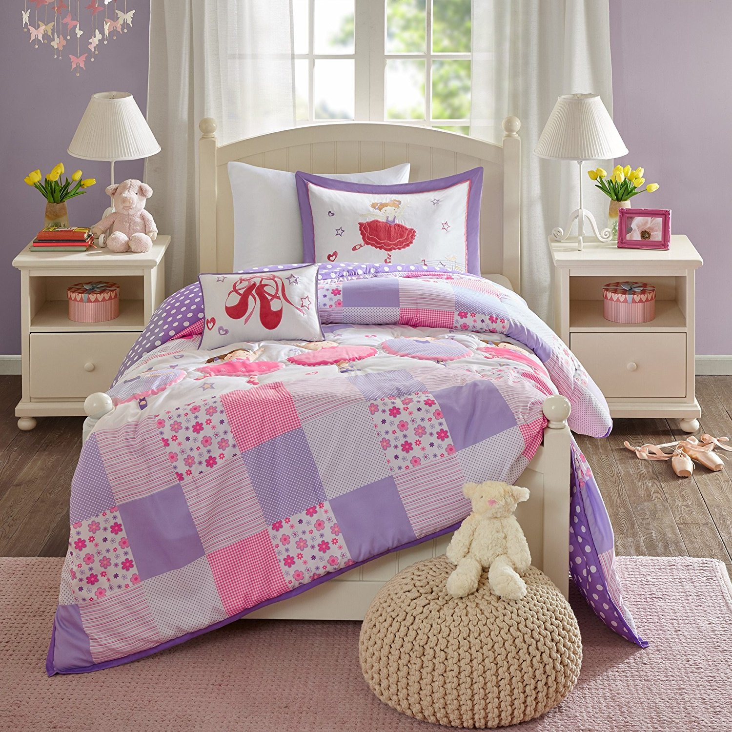 Buy 4 Piece Kids Lavender Pink White Dancers Ballet Shoes Comforter Set Full Queen Colorful Light Pink Purple Patchwork Stripes Floral Checkered Teen Themed Kids Bedding Reversible Polka Dot Polyester In Cheap
