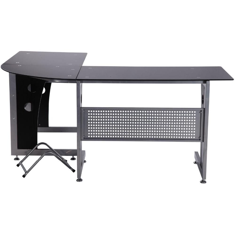 grand lots verre coin ordinateur bureau poste de travail permettant de bureau la maison bureau. Black Bedroom Furniture Sets. Home Design Ideas