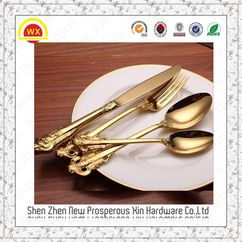 Wholesale Professional Metal Gold Fork and Spoon Gift Set