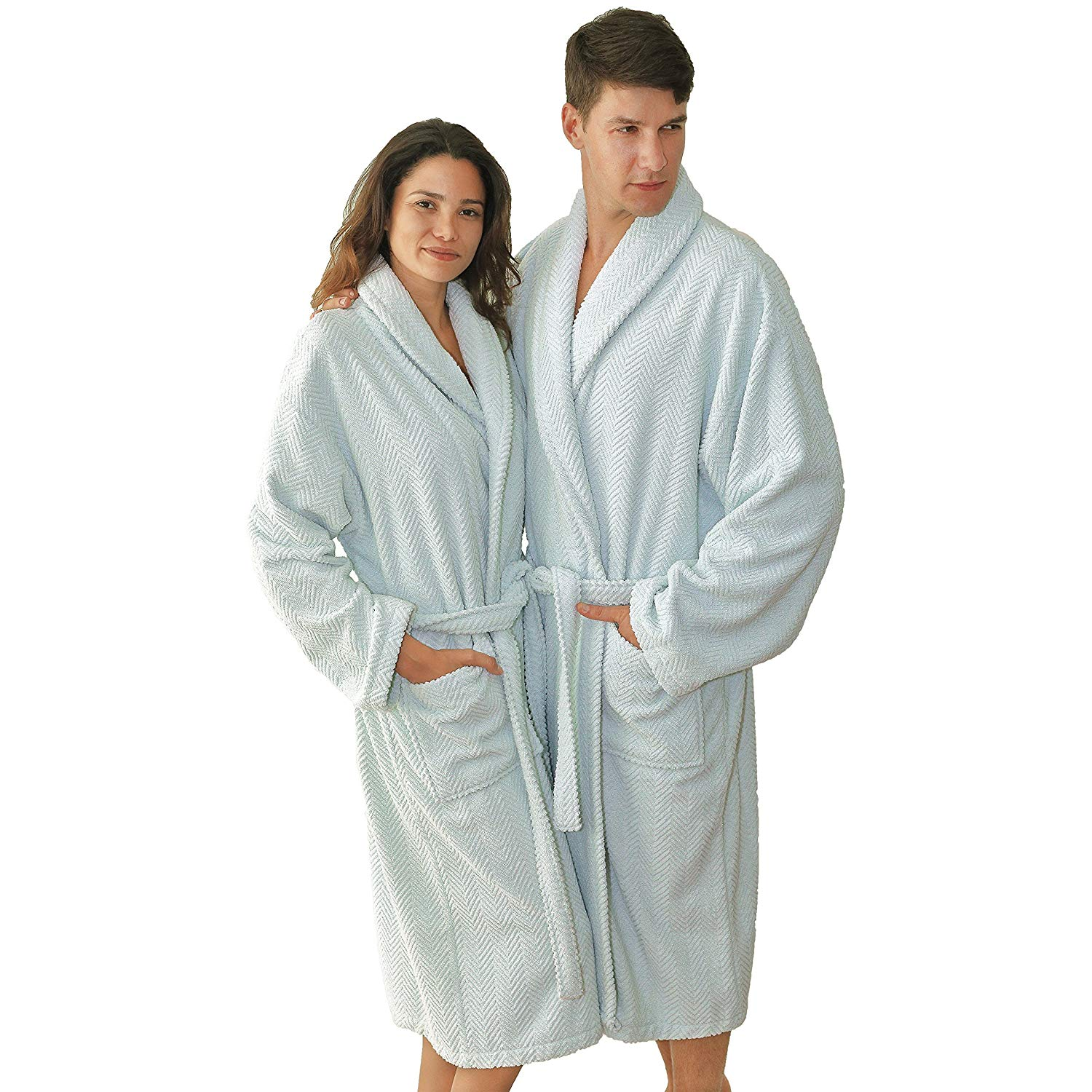 64a38477fe Get Quotations · HT 46 Inches Ice Blue Solid Color Small Medium Unisex  Bathrobe