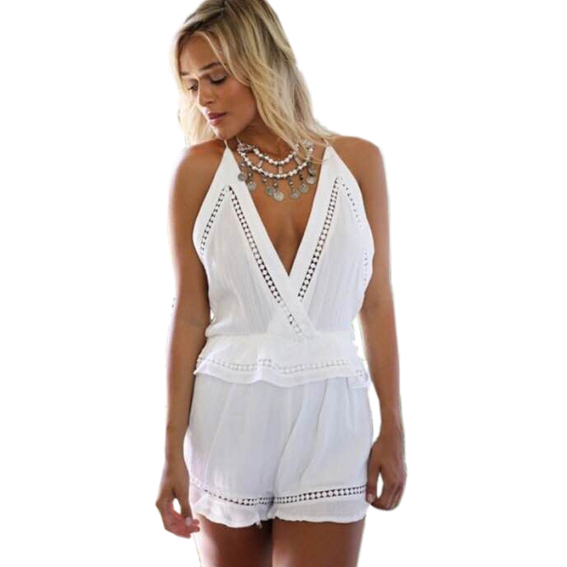 47a2739f2fd Get Quotations · New Fashion Sleeveless Hollow Out Summer Sexy Backless  Balck White Color V Neck Jumpsuits Loose Backless