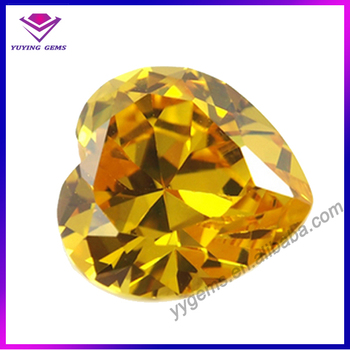 Heart 6*6mm Golden Yellow Gems Cz China Synthetic Diamond ...