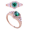 Heart shape emerald 21k solid yellow gold green cz ring