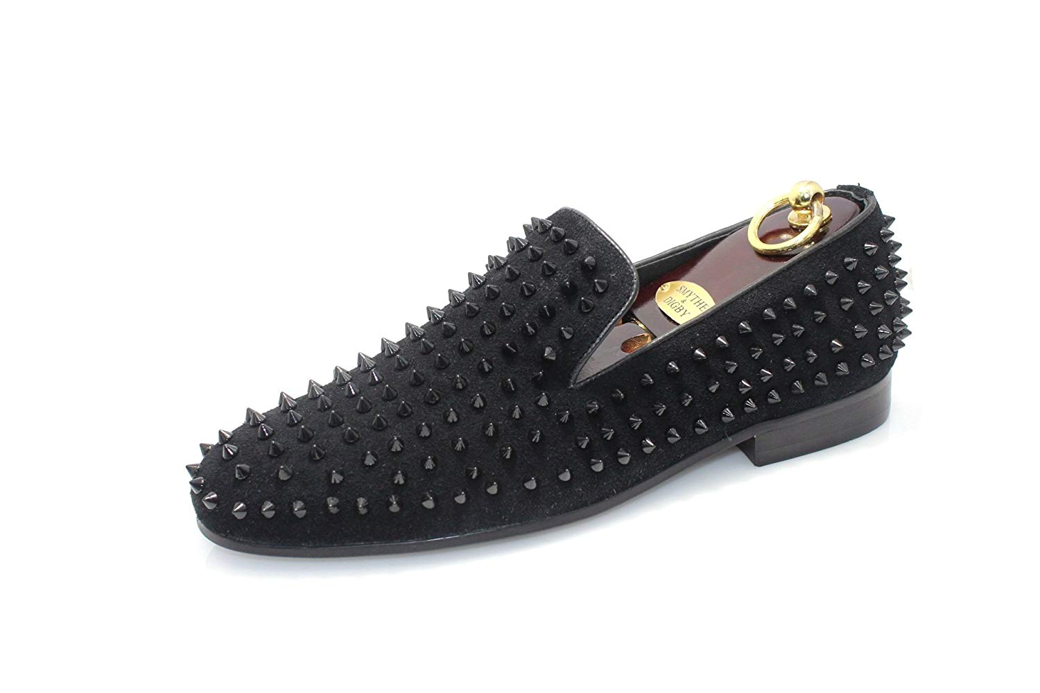 afe4e97319d6 Get Quotations · SMYTHE   DIGBY Men s Spiked Studded Black Leather Loafers
