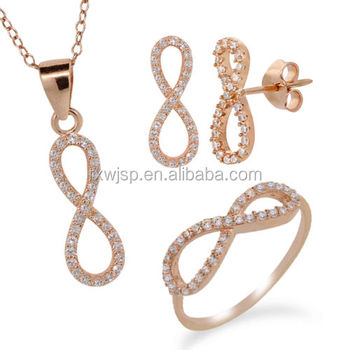 Rose Gold Plated 316l Stainless Steel Infinity Ring Earrings Pendant