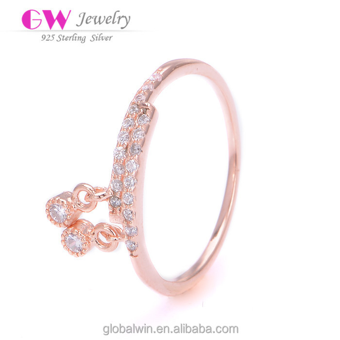 Fine Jewelry 14K Rose Gold Plated Silver Clear CZ Rings With Pendant